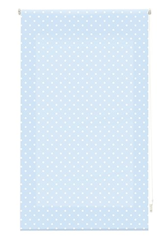 Blindecor - Estor Enrollable, Tela , Azul con motas blancas, 140 x 180 cm