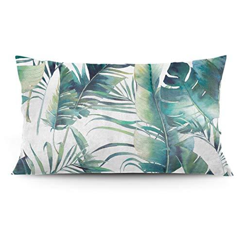 Tonicnc Watercolor Green Palm Leaf Jungle Pattern Pillow Case 20'' X 36'' Custom Pillow Case Cushion Cover White 20'' X36