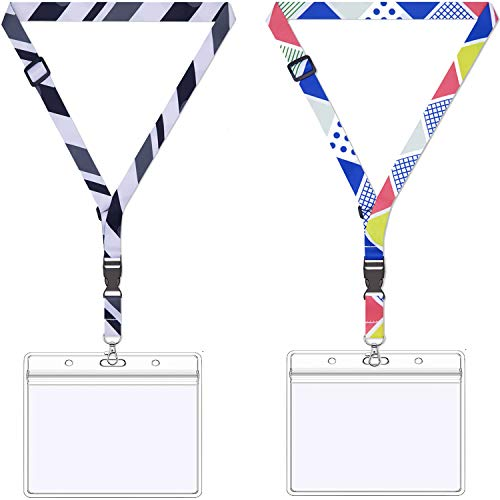 AMUU 2 Pack 3x4 Name Badge Holders Large with lanyards Adjustable Lanyard with id Badges Holder Horizontal 3x4 id Card Holder Waterproof Extensible Length Cute Neck Office Lanyard for id Badges Keys