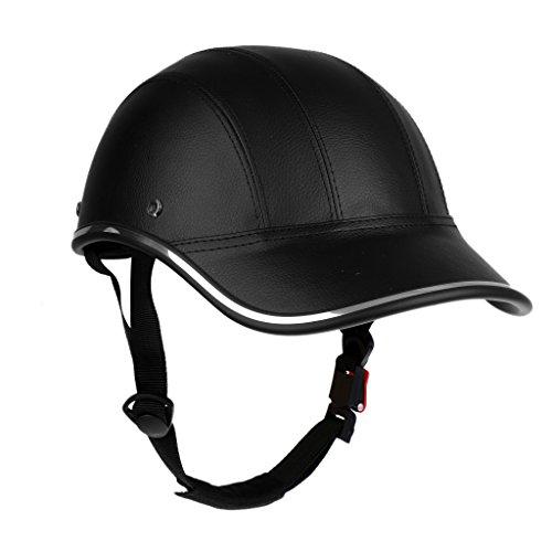 Gorra Casco Protector de Cabeza de Béisbol Motocicleta Moto Anti-UV Visor de Sombrero Seguridad Ajustable - Negro