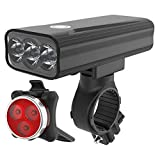 QWE USB Recargable Bicicleta luz Frontal Trasera 1100 lúmenes lámpara LED 5200 MAH Lámpara de Ciclismo a Prueba de Agua Set for Equipos de Ciclismo DOISLL (Color : Bike Light Set)