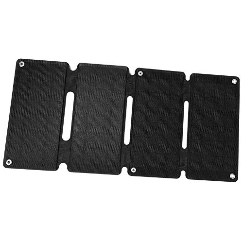 Alomejor Solar Charger Solar Power Bank Solarzelle Faltwand USB-Ausgang fur Wandern Camping Travling(Schwarz)