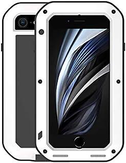 LOVE MEI Metal Funda para iPhone SE 2020 / iPhone 7 / iPhone 8, al Aire Libre Deportes híbrido Aluminio Metal Antichoque/Antipolvo/Impermeable Protectora Funda con Vidrio Templado (Blanco)