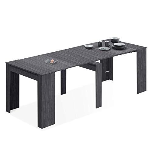 Habitdesign Mesa de Comedor, Consola, Mesa Extensible, Mesa para Salon recibidor o Cocina, Acabado en Gris Ceniza, Medidas: 50-235 cm (Largo) x 90 cm (Ancho) x 78 cm (Alto)