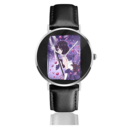 Unisex Business Casual Sailor Moon Hotaru Saturn Kristall Uhren Quarz Leder Uhr mit schwarzem Lederband für Männer Frauen Junge Kollektion Geschenk