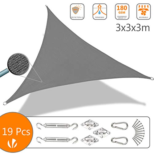 VOUNOT Voile d'ombrage Triangle avec Le Kit de Fixation | Matire rsistante ar 100% Nouveau HDPE-180g/m2 | Bloque 90% Rayons UV | Kit de Montage Inclus |Taille 3x3x3M Gris
