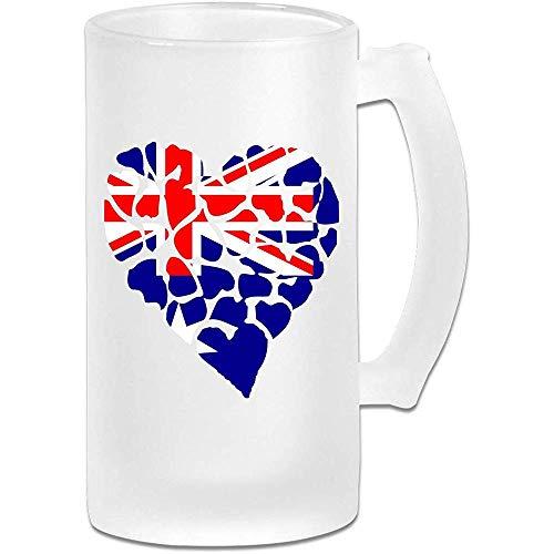 Hart Australische vlag Frosted glas Stein bier mok, pub mok, drank mok, geschenk voor bier Drinker, 500Ml (16.9Oz)