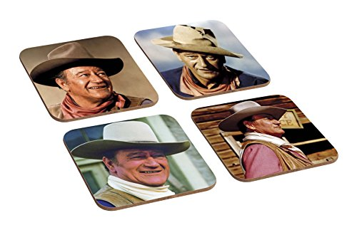 Tolles, 4-teiliges Holzuntersetzer-Set, Motiv: Cowboy John Wayne