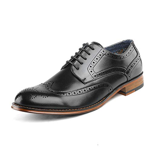 Bruno Marc Men's Paul_1 Black Classic Brogue Wing Tip Lace Up Soft Round...