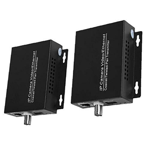 IUwnHceE Extensor de Red IP IP HD Transmisión coaxial Extender para Cable coaxial de Enchufe del Puerto de Juego convertidor Negro 1 par Segura y confiable