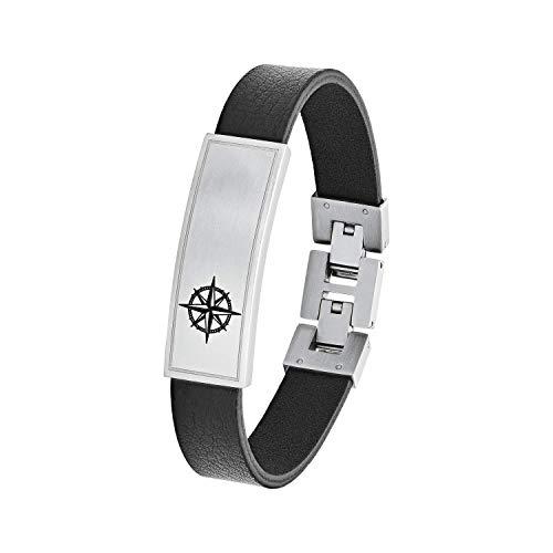 s.Oliver Leder ID-Armband für Herren aus Edelstahl und Leder Kompass, längenverstellbar