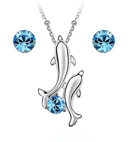 Crystals from Swarovski Delfines Juego de joyas Azul Aguamarina simulada Collar con colgante 45 cm Pendientes 18k Chapado en oro blanco