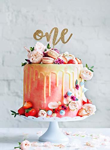 DKISEE Een taart Topper, Eerste Verjaardag Cake Topper, Een Smash Cake Topper, Verjaardag Cake Topper, 1e Verjaardag Cake Topper, Eerste Verjaardag Party Paper/Hout Cake Topper Keepsake paper