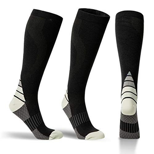 Alvada Compression Socks for Men & Women with Foot Massager Pad 1 Pair Black Blue S