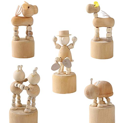 5 Piezas Juguetes de Figuritas de Animales de Madera de Bricolaje, Juguete de Pintura de Dibujos Animados de Bricolaje Juguete,Juguete de Graffiti Pintado para Bebés,Juguetes Educativos para Niños