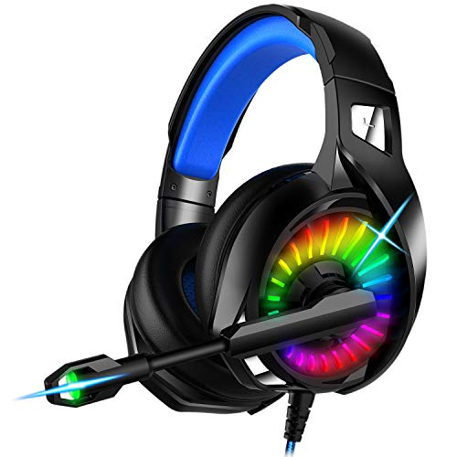 Nivava Gaming Headset for PS4, Xbox One, PC Headphones with Microphone LED Light Mic for Nintendo Switch PS5 Playstation Computer, K7 (Black&Blue)