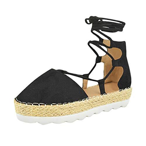 Sommer Espadrilles Gladiator Sandalen für Frauen, Flache Spitze Toe Riemchen Schnür Slingback Wide Fit Outdoor Walking Wanderschuhe