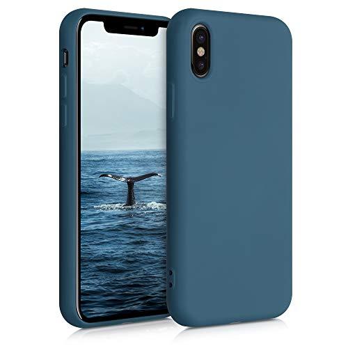 kwmobile Carcasa Compatible con Apple iPhone X - Funda de Silicona para móvil - Cover Trasero en petróleo Mate