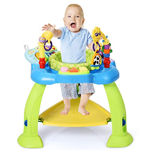 GYMAX Jumperoo Bouncer Chair, Infant Height Adjustable Activities Jumper...