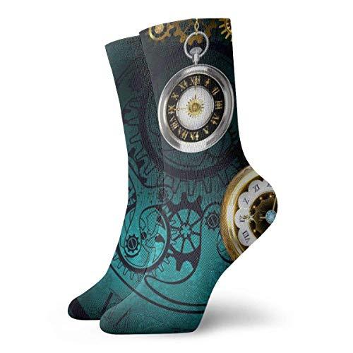 Elsaone Joyas Steampunk, reloj antiguo con cadenas doradas en calcetines con textura verde Calcetines para hombres Calcetines de fútbol Medias de tubo deportivo Longitud 30 cm