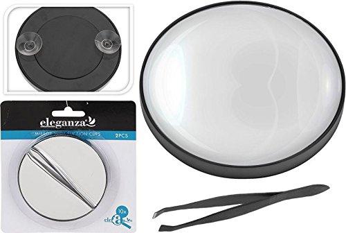 Cp8224390 – Grossissement 10 x Hand Held Miroir de courtoisie avec ventouse et pince à épiler Maquillage Beauté Commode