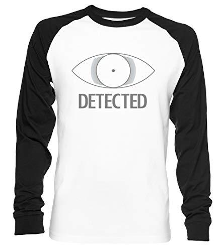 Detected Unisex Camiseta De Béisbol Manga Larga Hombre Mujer Blanca Negra