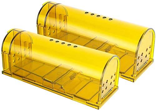 lucaSng Trampa para Ratones 2 Pcs Ratonera Ratas Vivos Trampa para Ratas Ratonera de Plástico Reutilizable con Diseño de Cola Anti-Roto y Agujeros de Aire para Cocina Jardín Hogar Cocina Ático Garaje