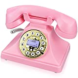 Pink Retro Landline Phone for Home, IRISVO Vintage Phone Old Fashioned Classic Desk Telephone with LCD Screen Display and Redial,Speaker, Push Button Dialing with A Rotary Look (Pink)