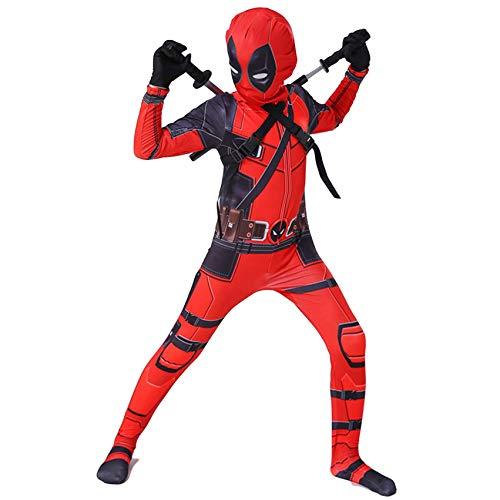 Niño Adulto Deadpool Disfraces De Halloween Carnaval Cosplay Fancy Dress Traje 3D Imprimir Mono Mono para Party Película Disfraz Props,Deadpool-130~140cm