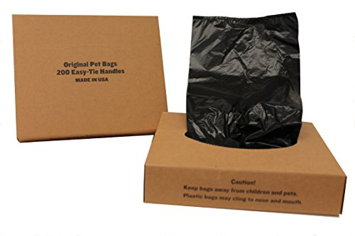 Originalpetbags Easy Open amp Easy tieHandle 15quot Long Strong LeakProof Poop Bags Dog Waste Bags Made in USA not on Rolls 400 Unscented Easy Open Bags Black