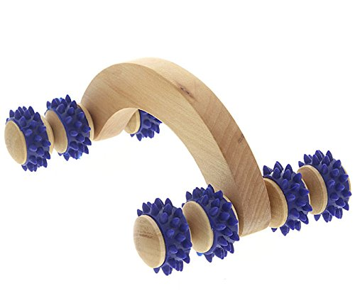 Massageroller aus Holz Massagegerät, Kosmetex Massagehandroller mit blauen Kunststoffnoppen, Groß