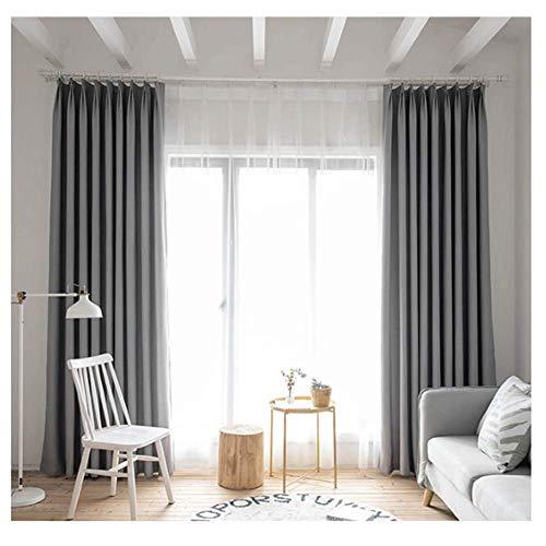 WYLYD Vorhang Blickdicht Kräuselband - 2-teiliges Set mit 150 * 265 cm (B * H) isolierten Schlafzimmervorhängen, grauen Verdunkelungsvorhängen