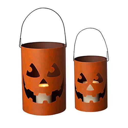 Glitzhome GH20040 Halloween Jack O Lantern Candle Holder Bucket Decoration, 11.02'H, Set of 2