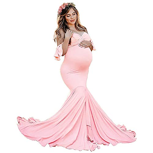 Rock88 Vestidos de Fotografía de Maternidad con Hombros Descubiertos Manga con Volantes Ropa de Embarazo para Baby Shower Premamá Faldas Largo de Talla Grande,Pink,L(Bust:98cm)
