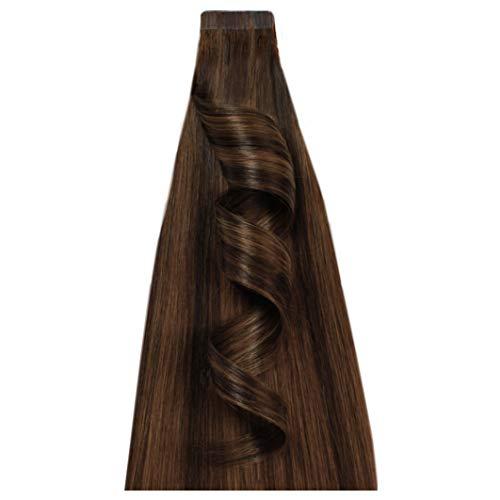 Desinas® Pro Tape Extensions aus Echthaar in Salonqualität | Haarverlängerung 50cm | Higlights schokobraun (50cm)