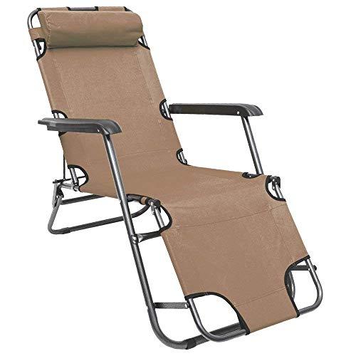 AMANKA Chaise Longue inclinable et Pliante Transat de Jardin 153 cm + appuie-tête Amovible + Repose-Jambes et Dossier inclinables Beige