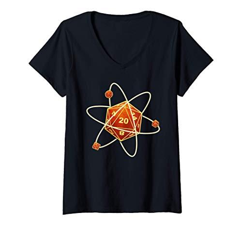 Damen W20 Atom Fantasie Rollenspiel Rettungswürfe Würfel Dragons T-Shirt mit V-Ausschnitt