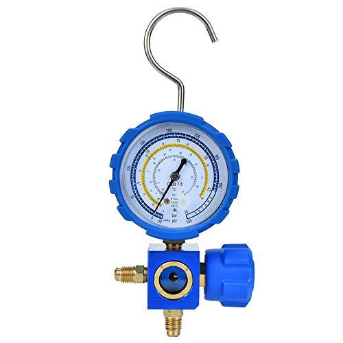 Jadeshay Manometer Druckkühlwerkzeug, Klimaanlage Verteiler Manometer Niederdruck A/C Kühlgerät mit Schauglas G1/4