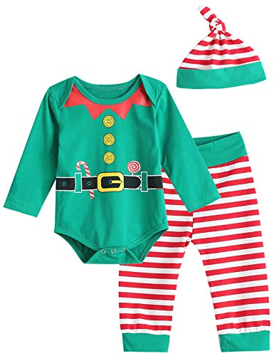 Christmas Elf Outfit Set Baby Boy Girl Xmas Striped Bodysuit with Hat (Green, 3-6 Months)