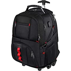 REMOVABLE WHEELS & 2 in1 CONVERTIBLE BACKPACK: This removable wheels backpack can be used as a large laptop backpack. Hide the adjustable aluminum telescoping handle, the molded kick plate is easy to install and remove, separate the Velcro on the bot...