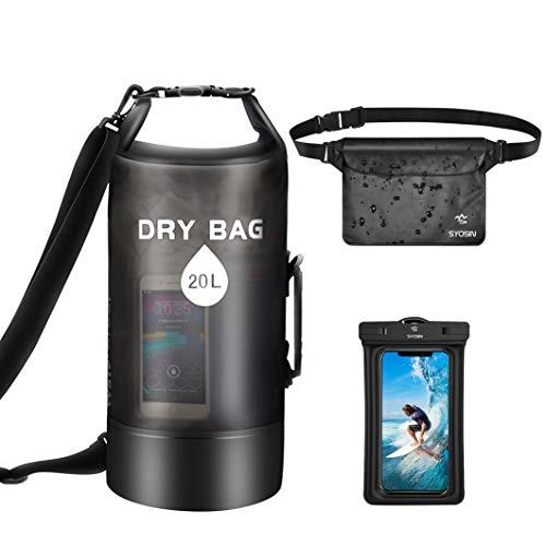 SYOSIN Dry Bag 20L + wasserdichte Handyhülle + wasserdichte Tasche 3er Set, Leichter Faltbarer Wassertasche Packsack Mit Verstellbarem Schultergurt Für Strand, Kajakfahren, Wandern, Camping und Angeln