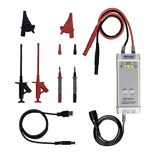 Micsig DP10013 High Voltage Differential Probe 1300V 100MHz 3.5ns Rise Time 50X/500X Attenuation, Tektronix P5200A P5205A P5210A