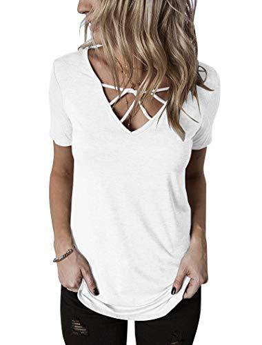 Hilltichu Womens Criss Cross Summer Tops Casual Short Sleeve Shirt V-Neck Tees White