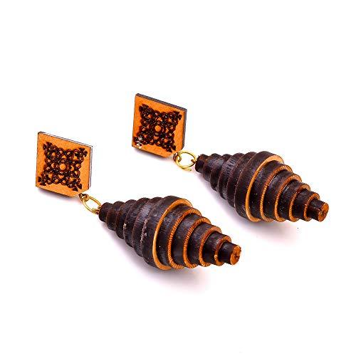Inmaculate AB-1327 - Pendientes de madera tallada tribales grandes de 3 pulgadas