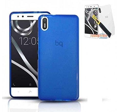 Todobarato24h Funda TPU Lisa Compatible con BQ AQUARIS X5 Azul + Protector...