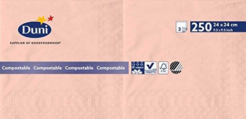 Duni Lot de 250 serviettes 3 plis, pliage 1/4 - 24 x 24 cm - couleur rose