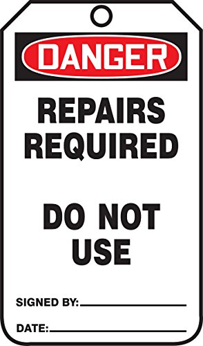 Accuform MDT015CTP PF-Cardstock Safety Tag, Legend'Danger Repairs Required Do Not Use', 5.75' Length x 3.25' Width x 0.010' Thickness, Red/Black on White (Pack of 25)