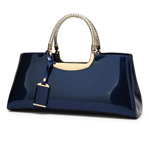jessie Patent Leather Structured Shoulder Handbag Women Evening Party Satchel Crossbody Top Handle Bags, Dark Blue, One Size