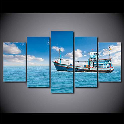 Cartel de barco de pesca de vela de mar. Cuadros decoracion salon modernos Póster Cuadro en Lienzo Impresión Artística Imagen Decoracion de Pared Modernos Fotos para 5 pinturas murales (Con marco)
