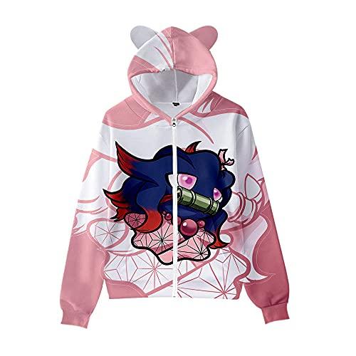 Niños Adultos Demonio Slayer Pokémon Sudadera Sudaderas Sudaderas Kawaii Gato Orejas Cremallera Chaqueta Linda Chaqueta Niñas Chicas Streetwear Traje-C1_4XL